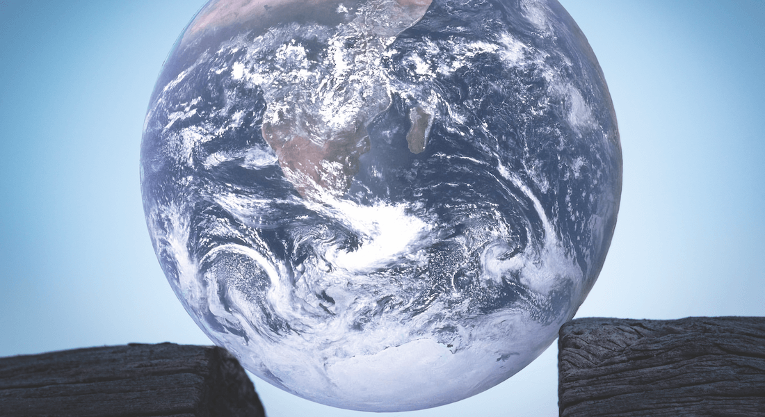 Globe between two boards