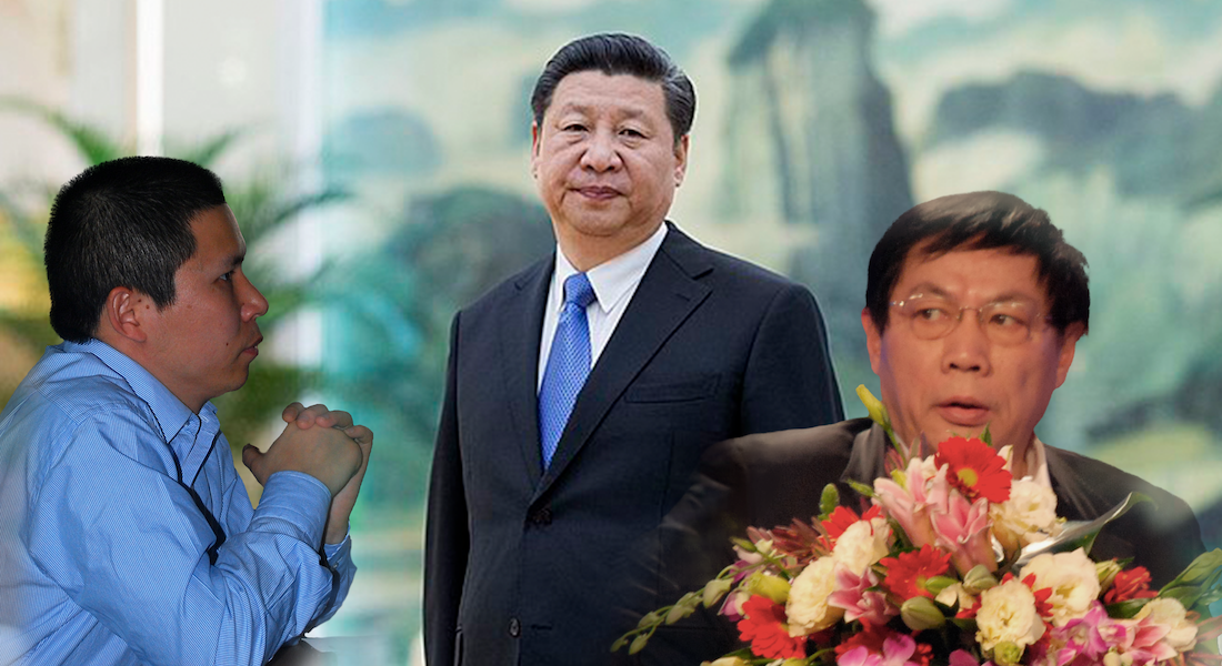 Xu Zhiyong (left), Xi Jinping (centre), and Ren Zhiqiang (right).