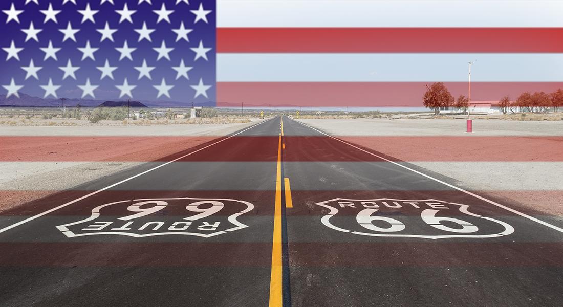 American flag on American highway