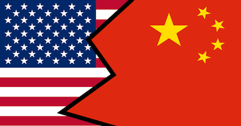 Mash up of American and Chinese flag